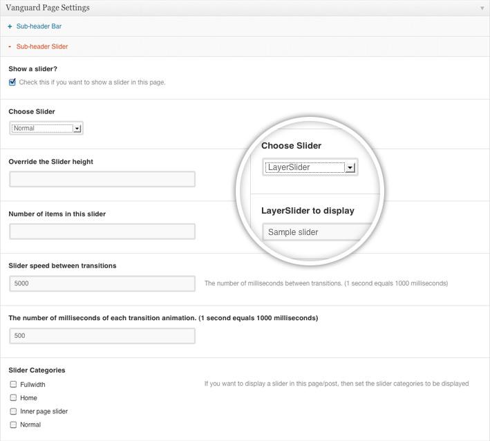 Slider page admin panel